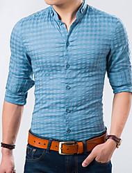 Masculino Camisa Casual / Escritório Xadrez Manga Comprida Algodão / Acrílico Preto / Azul / Laranja