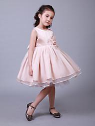 Ball Gown Knee-length Flower Girl Dress-Cotton / Organza / Satin / Tulle Sleeveless