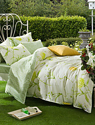 Net Quiet Village, Full Cotton Reactive Printing Pastoral Flowers Bedding Set 4PC, FULL Size