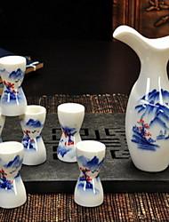 peinte à la main céramique motif jeu de vin (7 pièces motif aléatoire)