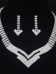 Arrow shape Bridal Necklace Earrings Set Wedding Jewelry For Bride