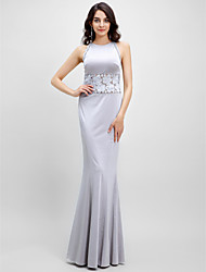 TS Couture Prom Formal Evening Dress - See Through Trumpet / Mermaid Jewel Floor-length Jersey with Lace