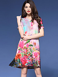 Women's Casual/Daily Vintage Plus Size / A Line Dress,Floral V Neck Above Knee Short Sleeve Pink Silk Summer