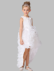 Ball Gown Asymmetrical Flower Girl Dress-Cotton / Organza / Satin Sleeveless