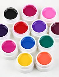 New 12 Bottle Mix Color 3d nail gel UV Nails Gel Polish Base Nail Art Polish Set gel UV nail Art Decorations kit