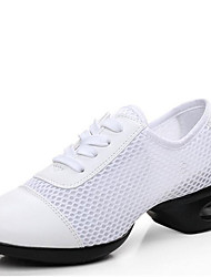 Modern Women's Dance Shoes Sneakers Breathable Leather/Mesh  Low Heel Black/White/Red