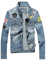 Мужской Хлопок Куртка На каждый день,камуфляж,Длинный рукав,Синий
