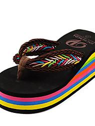 Women's Slippers & Flip-Flops Summer Flip Flops Polyester Casual Wedge Heel Others Black Blue Brown Fuchsia
