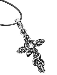 Men's Women's Pendant Necklaces Statement Necklaces Titanium Steel Simulated Diamond Cross Skull / Skeleton SnakeFashion Statement