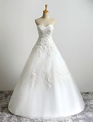 A-line Wedding Dress Floor-length Sweetheart Tulle with Appliques / Beading