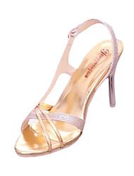 Damen-Sandalen-Lässig-PU-Stöckelabsatz-Sandalen-Silber