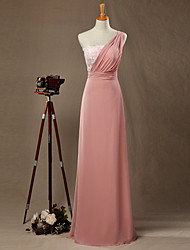 Formal Evening Dress - Open Back A-line One Shoulder Floor-length Chiffon Lace with Lace
