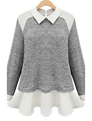 Women's Patchwork White / Gray Cardigan,Simple Long Sleeve