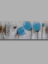 """Stretched (Ready to hang) Hand-Painted Oil Painting 48""""x16"""" Canvas Wall Art Modern Abstract Blue Tulips Grey"""