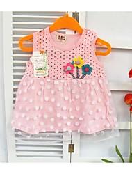 Vestido Bebé-Casual/Diario-Un Color-Algodón-Verano-Verde / Rosa