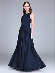Hasta el Suelo Raso Vestido de Dama de Honor - Funda / Columna Joya con Encaje