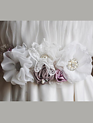 Satin / Satin / Tüll / Organza / Spitze Hochzeit / Party / Abend / Alltagskleidung Schärpe-Blumen / Strass / Künstliche Perle Damen 220cm