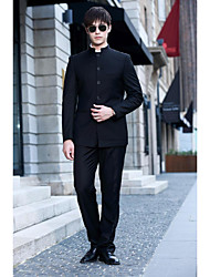 Suits Slim Fit Mandarin Collar Single Breasted More-Button Polyester Solid 2 Pieces Black Straight Piped Black