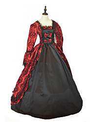 One-Piece/Dress Gothic Lolita Steampunk® / Victorian Cosplay Lolita Dress Red / Black Solid Long Sleeve Long Length Dress For WomenSatin