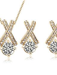 Women's Interchange Arrows zircon earrings Necklace Set