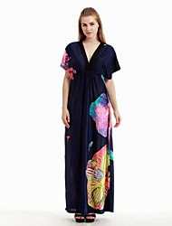 Women's Holiday / Plus Size Boho Swing Dress,Print Deep V Maxi Sleeveless Blue Cotton / Polyester Summer