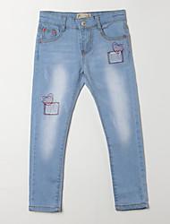 Menina de Jeans,Casual Jacquard Algodão Outono Azul