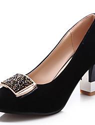 Chaussures Femme - Décontracté - Noir / Bleu / Bordeaux - Gros Talon - Bout Arrondi - Talons - Similicuir
