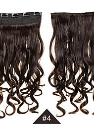 модные синтетические волосы 5 роликов клип в 1 часть женщин 60см 24 дюймов 120g длинные синтетические вьющиеся волнистые волосы # 4
