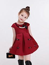 Vestido Chica deUn Color-Algodón / Rayón-Invierno / Primavera / Otoño-Rojo