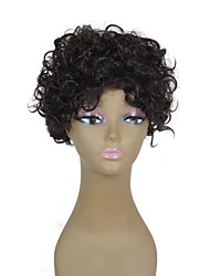 Capless Brown Color Natural Short Curly High Quality Synthetic Wig