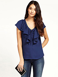 Women's Solid Blue / White Blouse,V Neck Short Sleeve
