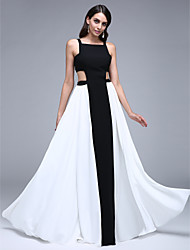 TS Couture Prom Formal Evening Dress - Color Block A-line Square Floor-length Chiffon with Pleats