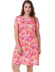 Robe Femme Décontracté / Quotidien Grandes Tailles Mignon,Fleur Col Arrondi Au dessus du genou Manches Courtes Rose Polyester Nylon Eté