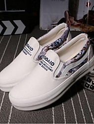 Women's Shoes Canvas Spring / Summer / Fall Flats Loafers Athletic Flat Heel Stitching Lace Black / Blue / White / Gray