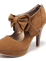 Women's Shoes Leatherette Spring / Summer / Fall Heels / Platform Outdoor / Dress / Casual Stiletto Heel Bowknot Black / Almond