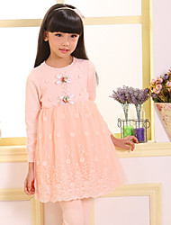 Girl's Casual/Daily Embroidered Dress,Cotton / Polyester Spring / Fall Pink
