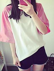 Damen Solide Einfach Lässig/Alltäglich T-shirt,Rundhalsausschnitt Sommer ½ Länge Ärmel Blau / Rosa / Schwarz Baumwolle / Polyester Dünn