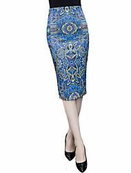 Women's Print Blue Skirts,Plus Size Knee-length