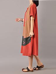 Ample Robe Femme Décontracté / Quotidien simple,Couleur Pleine Col Arrondi Midi Manches Courtes Blanc Marron Vert Orange Coton Lin