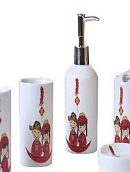 cylindrical character pattern Bathroom Five piece suit+Box