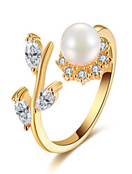 Pearl flower zircon opening ring