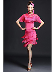 Dança Latina Vestidos Mulheres Actuação Fibra de Leite Renda / Borla(s) 2 Peças Manga Curta Alto Vestidos / Tanga M=85CM;L=90CM;XL=95CM