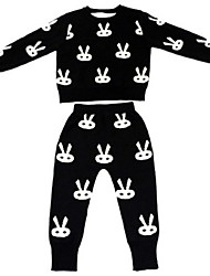Girl's Casual/Daily Jacquard Clothing Set,Cotton Spring / Fall Black