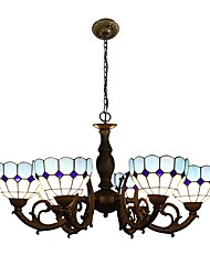 Mediterranean Style Chandelier,Tiffany Style with 6 Lights