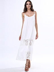Women's Beach Loose Dress,Patchwork Strap Maxi Sleeveless White Others Summer