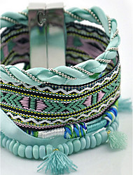 Beautiful Rainbow Colorful Fabric Weave Magnet Buckle Friendship Wrap Layered Bracelet Christmas Gifts