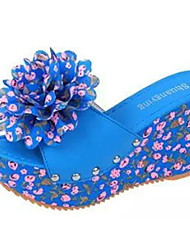 Women's Sandals Summer Sandals Pigskin Casual Wedge Heel Flower Blue / Beige Others