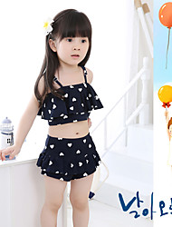 Girl's Sports Geometric Swimwear,Polyester Summer Black / Pink / Yellow