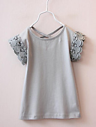Girl's Going out Solid Blouse,Cotton Summer Pink / Gray
