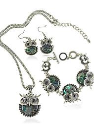 Jóias Colares / Brincos / Bracelete 3 Pças. Moderno / Vintage Diário / Casual 1conjunto Feminino Prateado / Verde Presentes de casamento